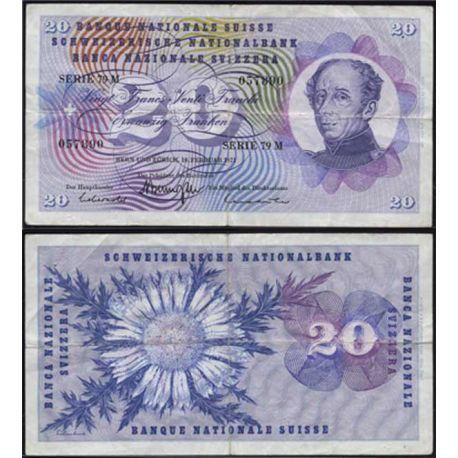 Billets collection Suisse - 20 Francs G-H Dufour Pk 46 TB+