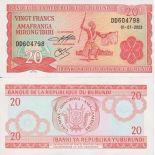 Colección Billetes Burundi Pick número 27 - 20 FRANC 1975