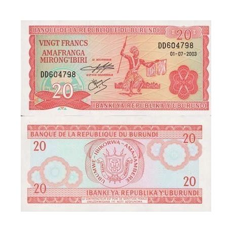 Billets de collection Billets collection Burundi Pk N° 27 - 20 Francs Billets du Burundi 1,50 €