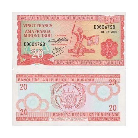 Burundi - Pk N° 27 - Billet de 20 Francs