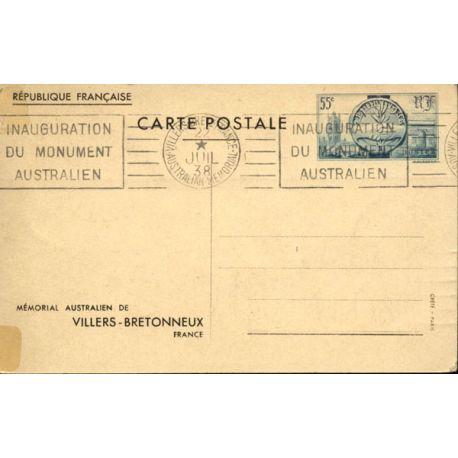 Entier Postal N° 400 Mémorial Australien 1938