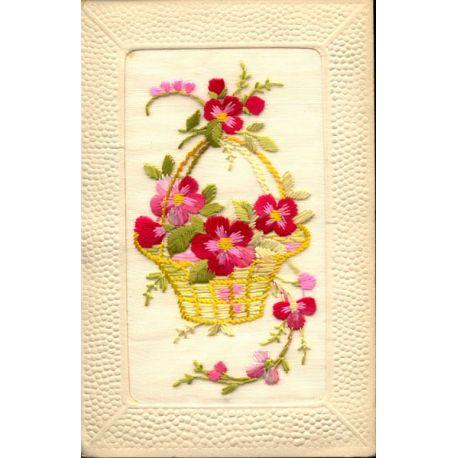 Carte postale brodée - Panier de fleurs