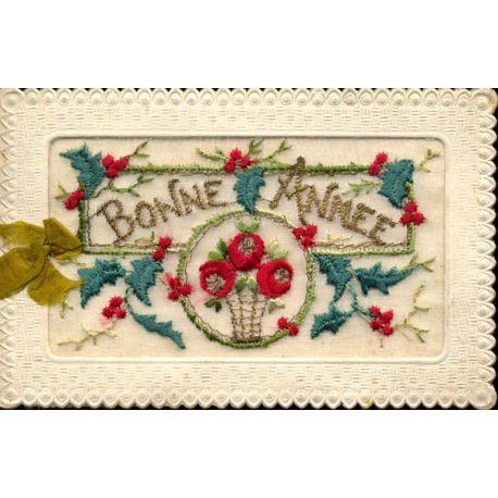 Carte lettre brodée - Fleurs - Bonne année