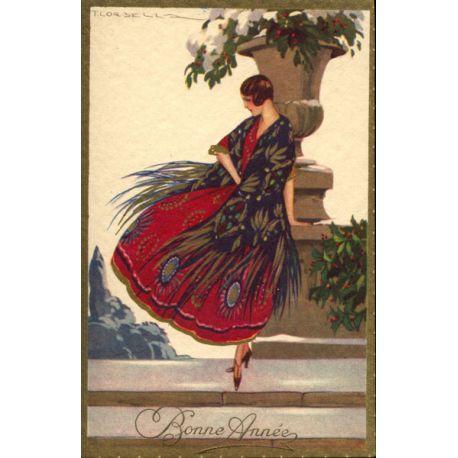 T. Corbella - Jeune femme à la robe paon rouge