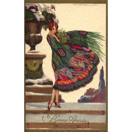 T. Corbella - Jeune femme à la robe paon verte et rouge