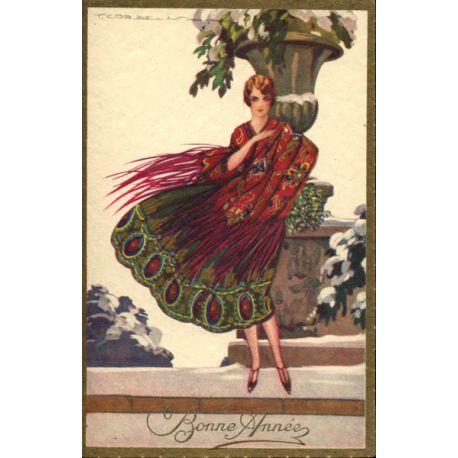T. Corbella - Jeune femme à la robe paon rouge et verte