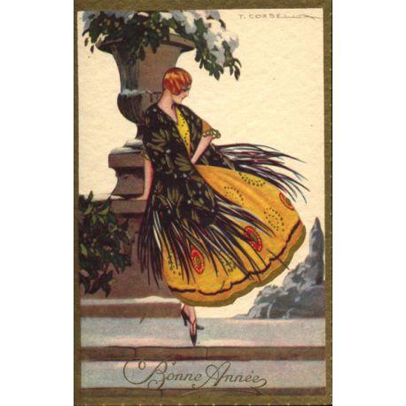 T. Corbella - Jeune femme à la robe paon jaune et noire