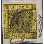 Stamps collection of Baden N° 8 obliterated on fragment