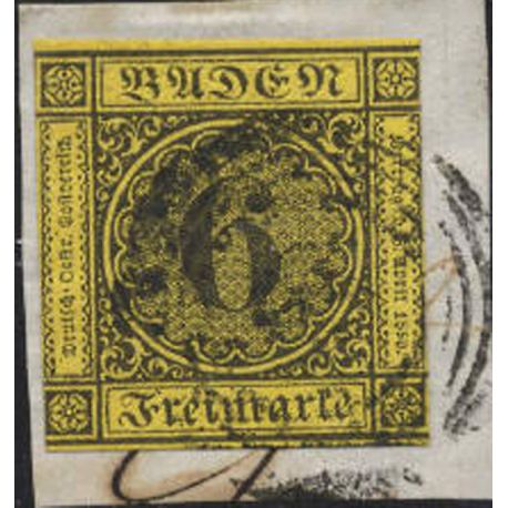 Timbres collection de Bade N° 8 oblitéré sur fragment