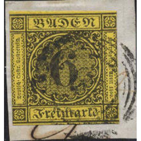 Timbres collection de Bade N° 8 oblitéré sur fragment