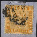 Baden Stamps used N° 11a on fragment