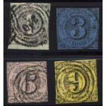 Turn and Taxis Stamps used N° 32+33A+34+35