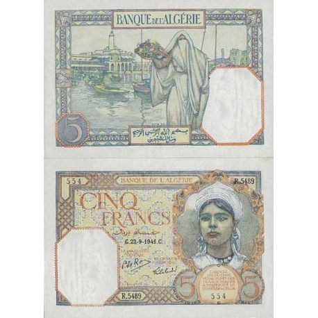 Billets de collection Billet de banque collection Algerie - PK N° 77 - 5 Francs Billets d'Algerie 76,00 €