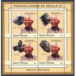 Block 4 Briefmarken Guinea Bissau - Nelson Mandela und Minéraux