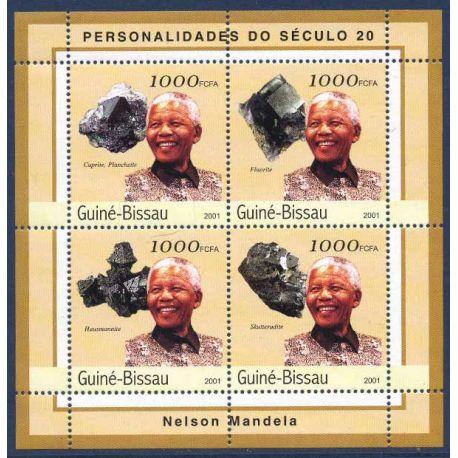 Collection Timbres Hommes Celebres Bloc de 4 timbres Guinée Bissau - Nelson Mandela et Minéraux à partir de 12,50 €