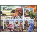 Bloc de 4 timbres Centrafrique - Nelson Mandela et Minéraux