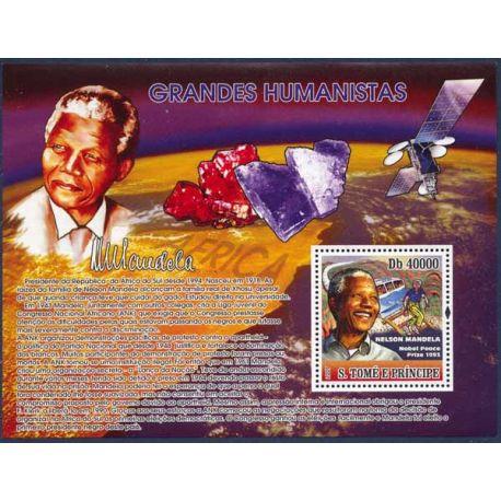 Collection Timbres Hommes Celebres Bloc timbre St Tomé - Nelson Mandela et Minéraux à partir de 15,00 €