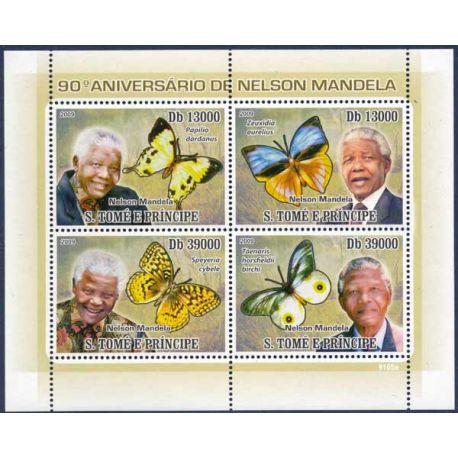 Bloc de 4 timbres St Tomé - Nelson Mandela et Papillons