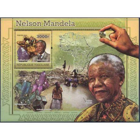 Bloc timbre Togo - Nelson Mandela et Minéraux