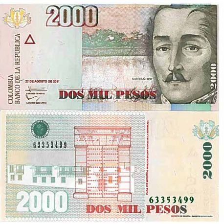 Billets de collection Billet de banque collection Colombie - PK N° 457 - 2000 Pesos Billets de Colombie 4,00 €