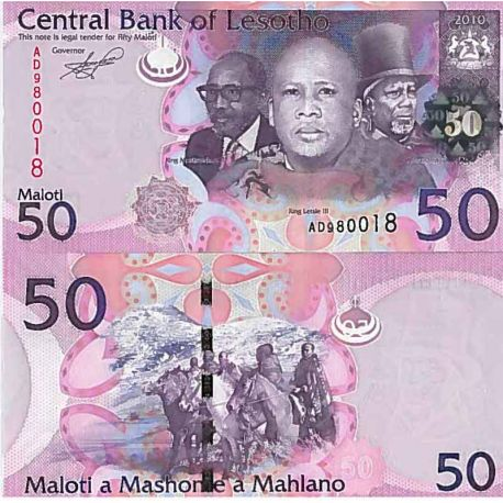 Billet de banque collection Lesotho - PK N° 23 - 50 Maloti