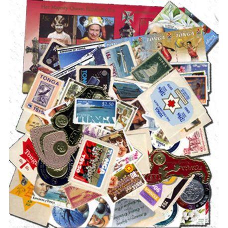 Collection de 100 timbres des Tonga