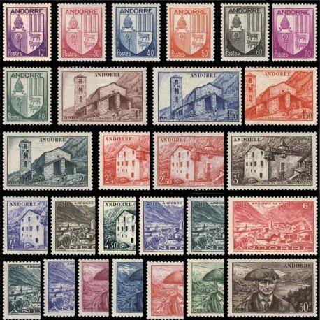 Timbre Andorre 1944/1946 Année complète neuve