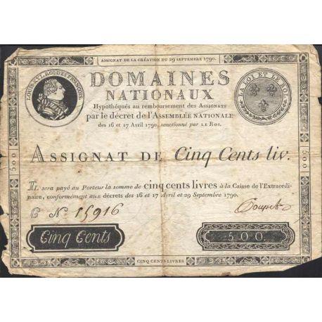 Assignat de 500 livres - 1790 - B-TB