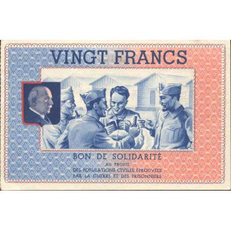 Bon de solidarité de 20 francs 1941