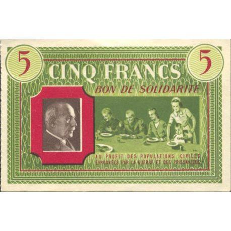 Bon de solidarité de 5 francs 1941