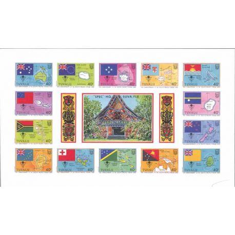 Tuvalu Bloc 14 timbres drapeaux neufs **