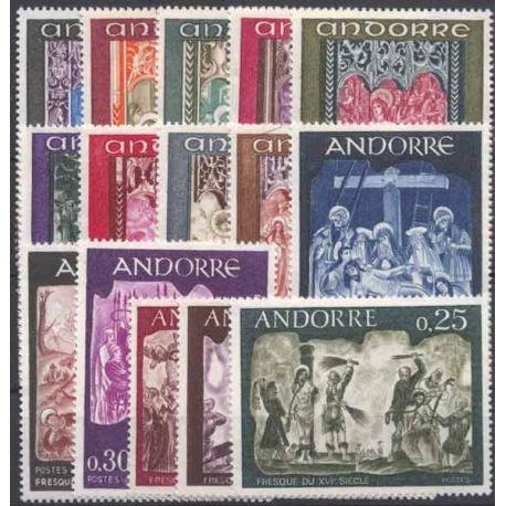 Andorre Série de 18 timbres Fresques et Rétable Neufs **