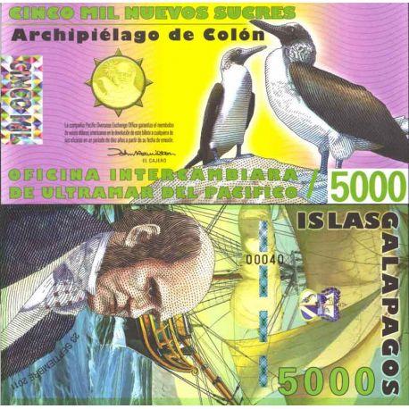 Billets de collection Billet Polymére Galapagos de 5000 Sucres Billets de l'équateur 57,00 €
