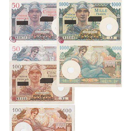 Billets 50, 100 et 1000 F Suez Fayette 41/43
