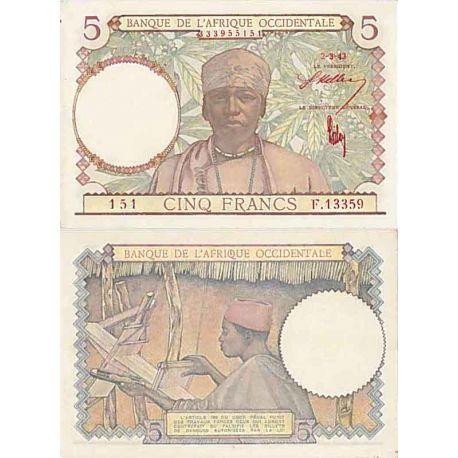 Billets de collection Afrique occidentale- Pk n° 21 - Billet de 5 Francs 1943 Billets d'Afrique 28,00 €
