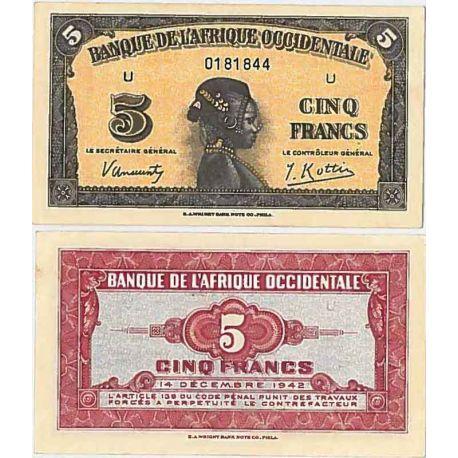 Billets de collection Afrique occidentale- Pk n° 28 - Billet de 5 Francs 1942 Billets d'Afrique occidentale française 28,00 €
