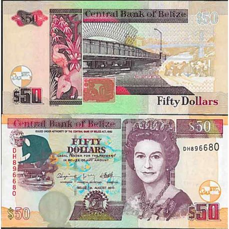 Billets de collection Billet de banque collection Belize - PK N° 70 - 50 Dollars Billets de Belize 76,00 €
