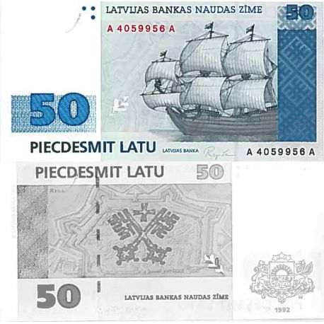 Billet de banque collection Lettonie - PK N° 46 - 50 Rubli