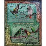 Bloc Perroquets 4 timbres de Centrafrique