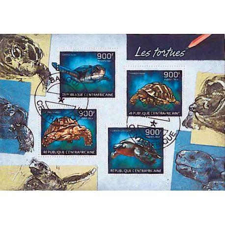 Bloc Tortues 4 timbres de Centrafrique