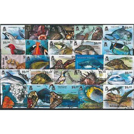 Iles Salomon, collection de 100 timbres après 2012 oblitérés