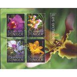 Bloc Orchidées 4 timbres du Niger