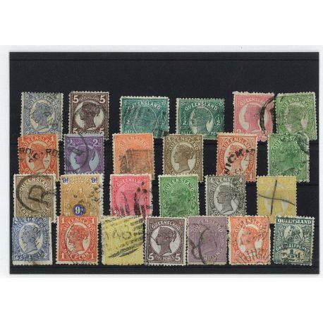 Collection de timbres Queensland oblitérés