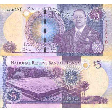 Banconote collezione Tonga - PK N° 999 - 5 Pa'anga