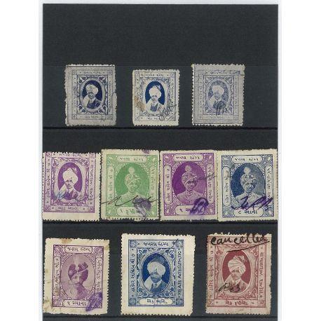 Rajkot - 10 verschiedene Briefmarken