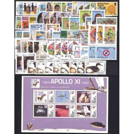 Timbres Iles Vierges lot de 62 timbres et 1 bloc