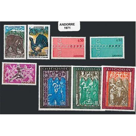 Francese Andorra anno completo 1971 Nuovo non linguellato Francobolli