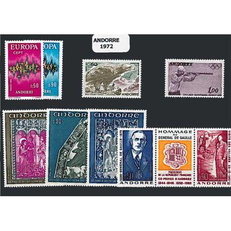 Andorre Français Année 1972 Complète timbres neufs