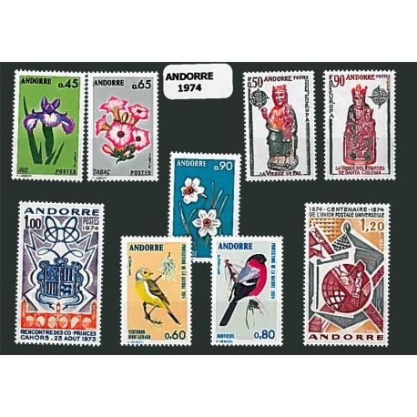 Andorre Français Année 1974 Complète timbres neufs