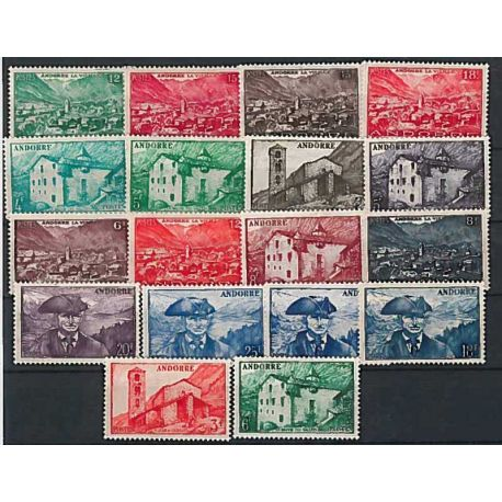 Francese Andorra anno completo 1948/51 Nuovo non linguellato Francobolli